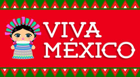 Viva Mexico, traditional Mexican phrase and Doll vector illustration 版權商用圖片 - 128924561
