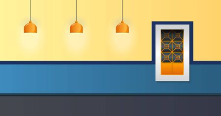 House Facade Vector Illustration Window and Lamp colonial style. 向量圖像