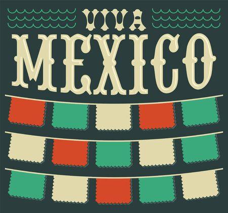 Viva Mexico, Fiesta Mexicana Encabezado y elementos de decoración vectorial