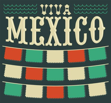 Viva Mexico, Mexican holiday Header and elements vector decoration