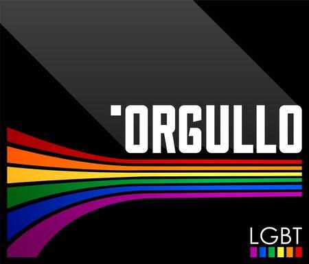 Orgullo, Pride Spanish text LGBT vector design.