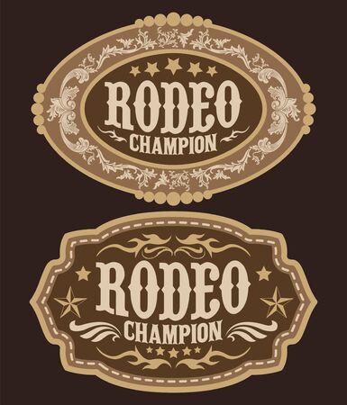 Diseño de vector de hebilla de cinturón de vaquero campeón de rodeo Ilustración de vector