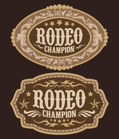 Rodeo Champion Cowboy Gürtelschnalle Vektordesign Vektorgrafik