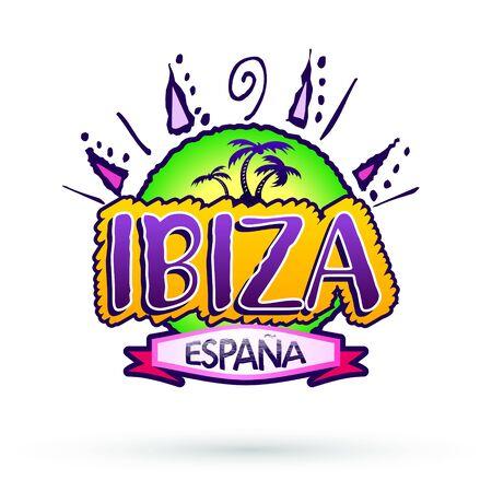 Ibiza Espana, Ibiza Spain Spanish text, beach vector icon, emblem design. Ilustração