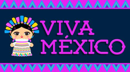Viva Mexico, traditional Mexican phrase and Doll vector illustration Иллюстрация