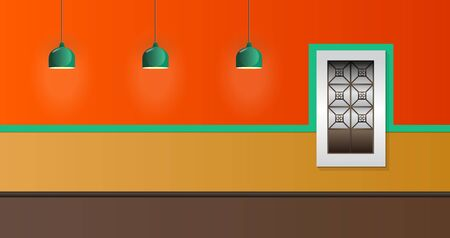 House Facade Vector Illustration Window and Lamp colonial style. Illusztráció
