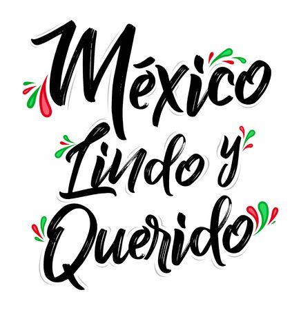 Mexiko Lindo y Querido, Mexiko Schöne und geliebte spanische Textvektorbeschriftung.