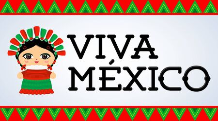 Viva Mexico, traditional Mexican phrase and Doll vector illustration Ilustrace