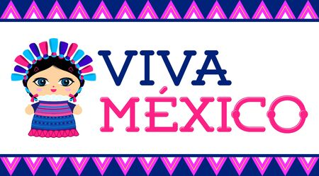 Viva Mexico, traditional Mexican phrase and Doll vector illustration Stok Fotoğraf - 130685027
