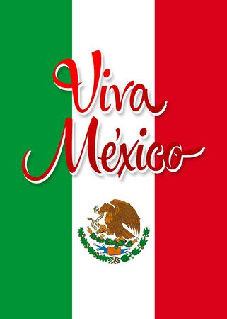 Viva Mexico poster, Mexican poster with flad colors.