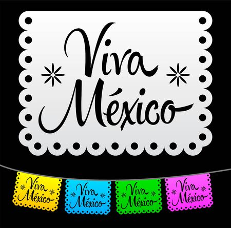 Viva Mexico, Mexican holiday decoration elements vector illustration.