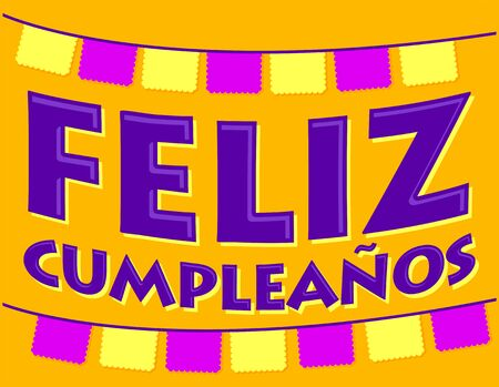 Feliz Cumpleaños. Happy Birthday spanish text, festive vector illustration. Ilustração