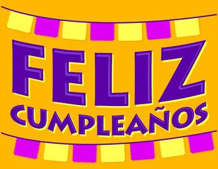 Feliz Cumpleaños. Happy Birthday spanish text, festive vector illustration.