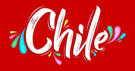 Chile Patriotic Banner design Chilean flag colors vector illustration Stok Fotoğraf - 130685041