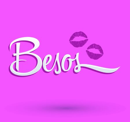 Besos, Kisses spanish text, vector illustration with sexy red lips.