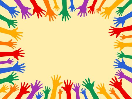 Diversity Theme background, Color Hands Friendship concept.