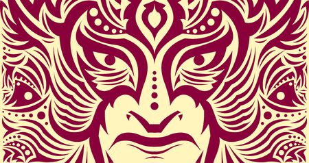 Tribal Eyes Mask Face vector illustration, Tattoo style Warrior.