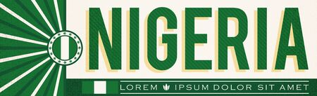 Nigeria Banner design, typographic vector illustration, Nigerian Flag colors Stok Fotoğraf - 130685215