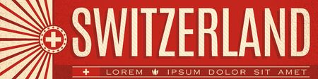 Switzerland Banner design, typographic vector illustration, Swiss Flag colors