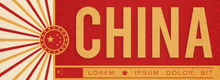 China Banner design, typographic vector illustration, Chinese Flag colors Stok Fotoğraf - 130685225