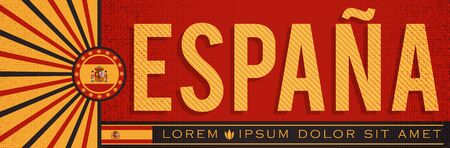 Espana Spain Banner design, typographic vector illustration, Spanish Flag colors Stok Fotoğraf - 130685228