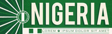 Nigeria Banner design, typographic vector illustration, Nigerian Flag colors Stok Fotoğraf - 130685362