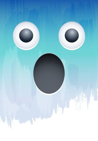 Screaming in Fear Emotion face on paint wall vector illustration Çizim