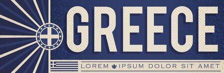 Greece Banner design, typographic vector illustration, Greek Flag colors Stok Fotoğraf - 130685657