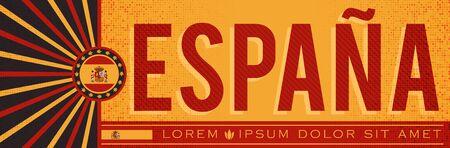 Espana Spain Banner design, typographic vector illustration, Spanish Flag colors Stok Fotoğraf - 130685680