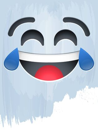 Crying of Laughter Happy Emotion face on paint vector illustration