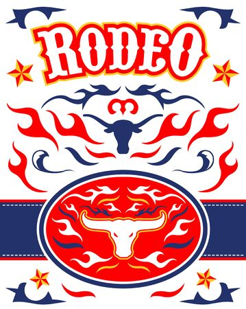 Rodeo Poster vector Design Longhorn Bull emblem. Stock Illustratie