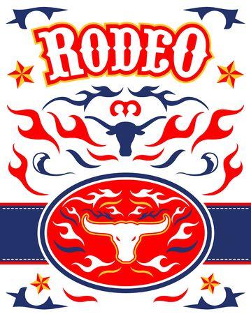 Rodeo Poster vector Design Longhorn Bull emblem. 写真素材 - 130685684