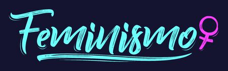Feminismo, Feminism spanish text vector lettering and female symbol. 向量圖像
