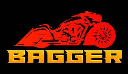 Bagger Motorcycle vector emblem design.