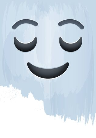 Smile Emotion Face with Happy Eyes on paint background vector illustration