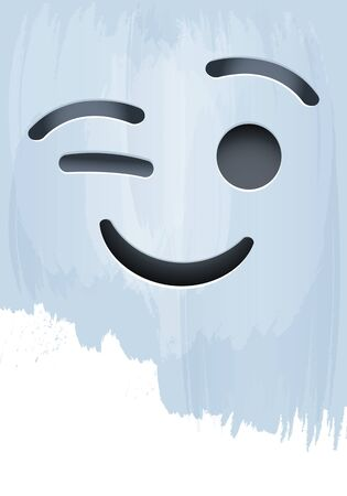 Smile Face with Closed Eye on paint background vector illustration