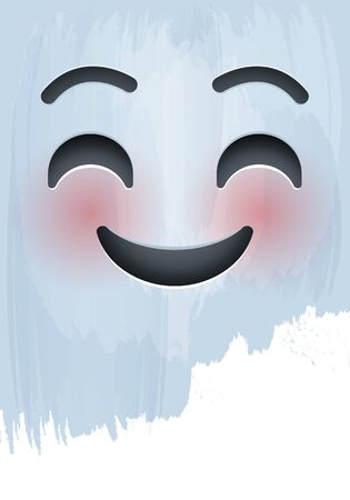 Smile and Blushing Emotion Face with happy eyes on paint background.