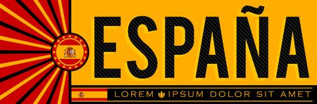 Espana Spain Banner design, typographic vector illustration, Spanish Flag colors Stok Fotoğraf - 130685850