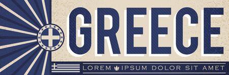 Greece Banner design, typographic vector illustration, Greek Flag colors 向量圖像