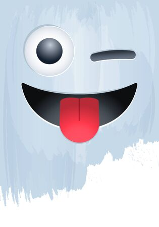 Smile Face with Stuck-out Tongue and Wink on paint background vector illustration