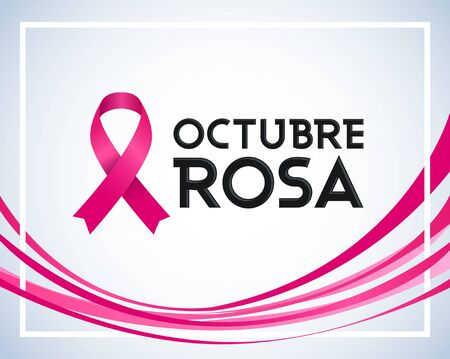 Octubre Rosa, Pink October Spanish Text, Breast Cancer Awareness Month design.