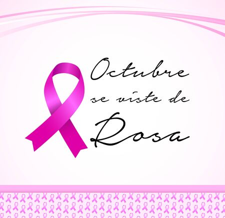 Octubre se Viste de Rosa, October Wears Pink Spanish text, Breast Cancer Awareness Month design.