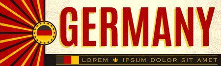 Germany patriotic banner vintage design, typographic vector illustration, german flag colors