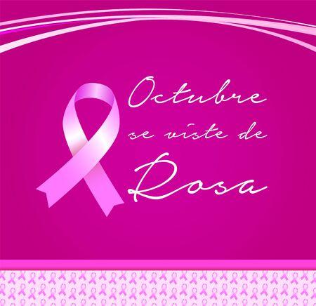 Octubre se Viste de Rosa, October Wears Pink Spanish text, Breast Cancer Awareness Month design.