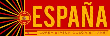 Espana Spain Banner design, typographic vector illustration, Spanish Flag colors
