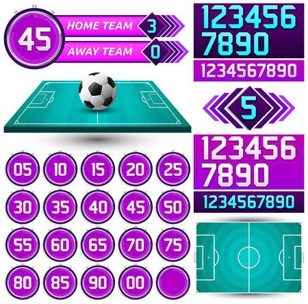 Football Scoreboard Timer, Soccer game Streaming Media set.