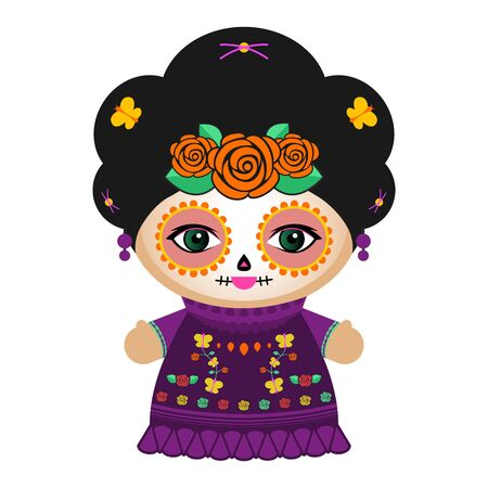 Day Of The Dead Classic Mexican Catrina Doll vector illustration.