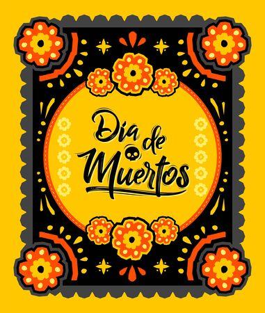 Dia de Muertos, Day of Dead spanish text Offering vector illustration