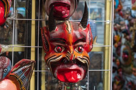Demon Mask in Mexican Souvenir Shop in Guanajuato Mexico.