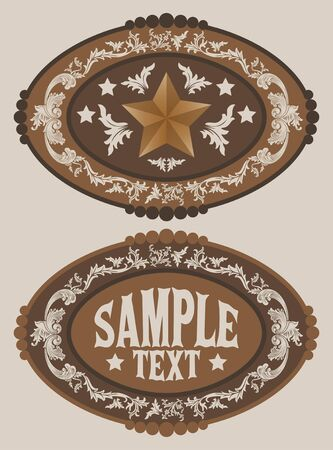 Rodeo Cowboy belt buckle vector design, Sheriff Star Badge.